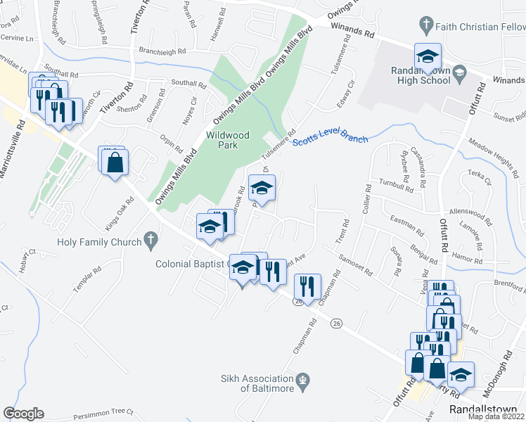 map of restaurants, bars, coffee shops, grocery stores, and more near in Baltimore County