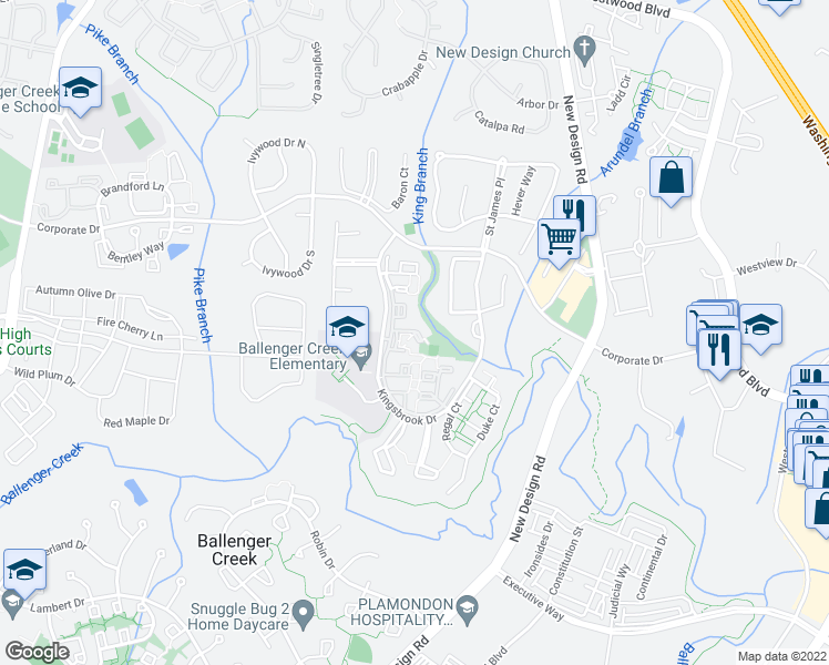 map of restaurants, bars, coffee shops, grocery stores, and more near 6959 Castle Court in Frederick