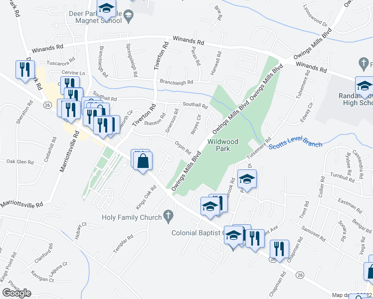 map of restaurants, bars, coffee shops, grocery stores, and more near Orpin Road in Randallstown