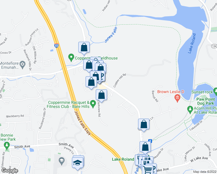 map of restaurants, bars, coffee shops, grocery stores, and more near 6224 Falls Road in Baltimore