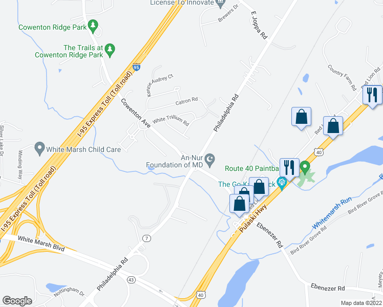 map of restaurants, bars, coffee shops, grocery stores, and more near 8709 Cowenton Avenue in Perry Hall