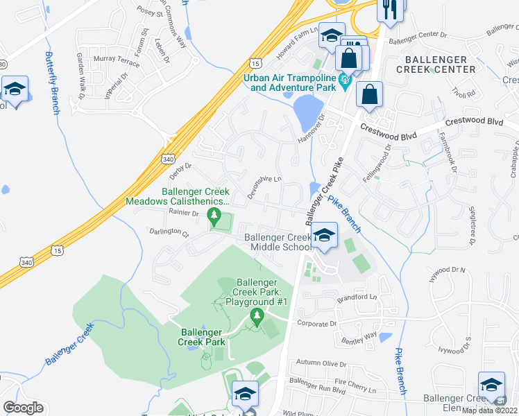 map of restaurants, bars, coffee shops, grocery stores, and more near 6387 Kelly Court in Frederick