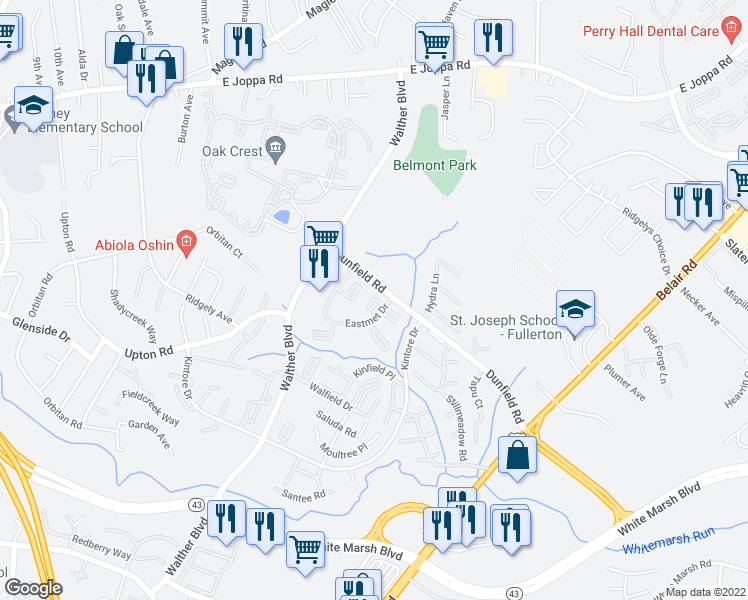 map of restaurants, bars, coffee shops, grocery stores, and more near 8501 Dunfield Road in Nottingham