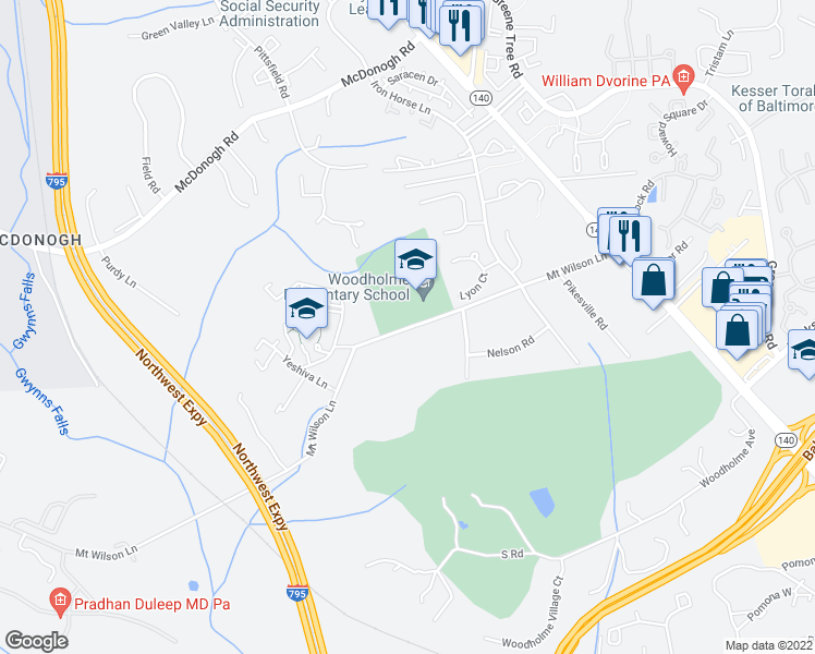 map of restaurants, bars, coffee shops, grocery stores, and more near 341-347 Mount Wilson Lane in Pikesville