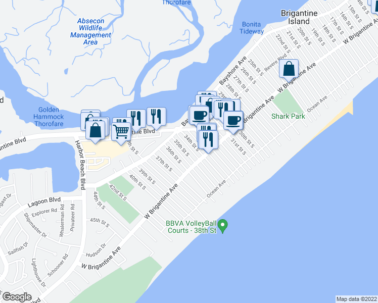 map of restaurants, bars, coffee shops, grocery stores, and more near 267 35th Street South in Brigantine