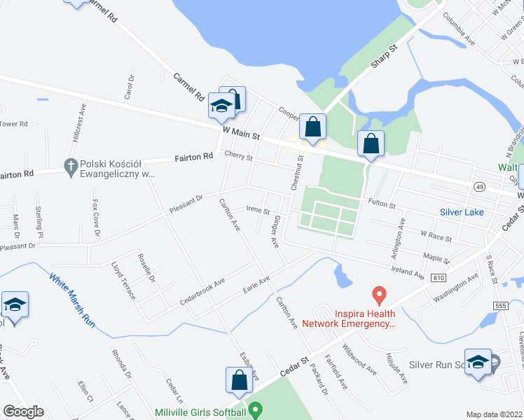 map of restaurants, bars, coffee shops, grocery stores, and more near Irene Street & Patricia Avenue in Millville