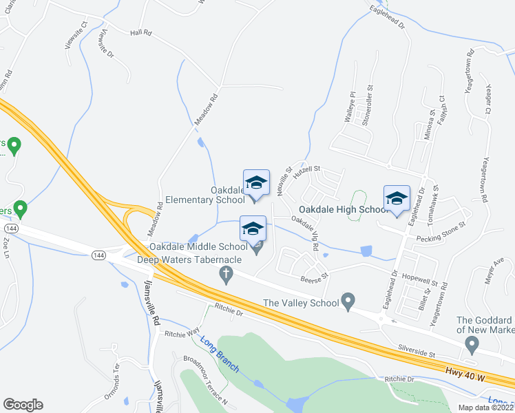 map of restaurants, bars, coffee shops, grocery stores, and more near 9850 Old National Pike in Ijamsville