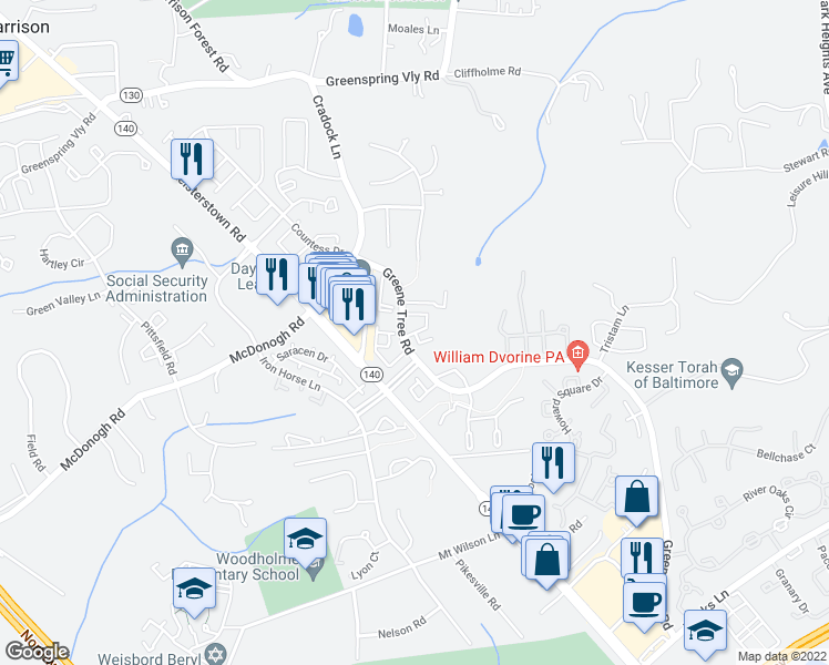 map of restaurants, bars, coffee shops, grocery stores, and more near Galvariun Court in Pikesville