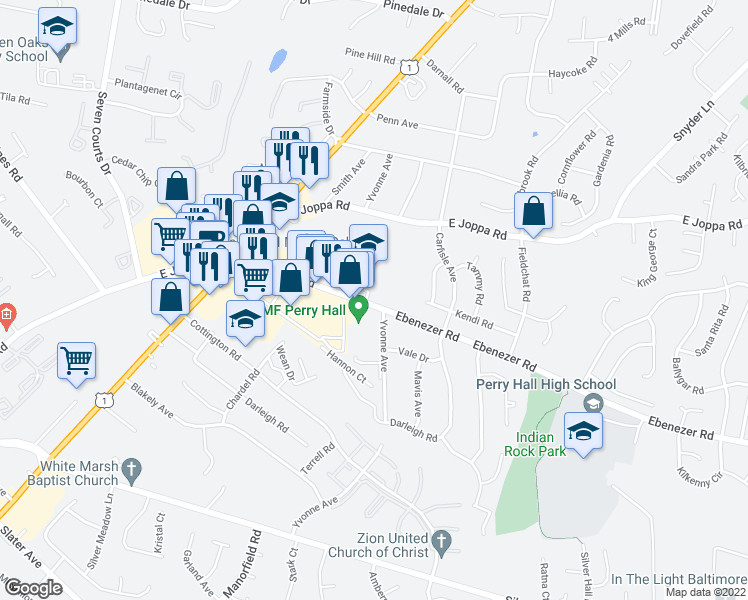 map of restaurants, bars, coffee shops, grocery stores, and more near 4416 Ebenezer Road in Nottingham