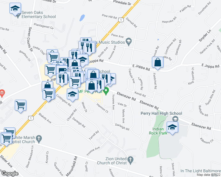 map of restaurants, bars, coffee shops, grocery stores, and more near 4367 Ebenezer Road in Baltimore