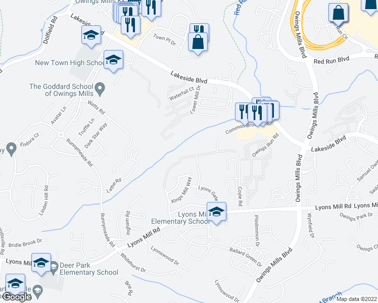 map of restaurants, bars, coffee shops, grocery stores, and more near 9510 Coyle Road in Owings Mills