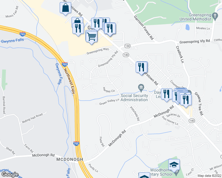 map of restaurants, bars, coffee shops, grocery stores, and more near 1 Hartley Circle in Garrison