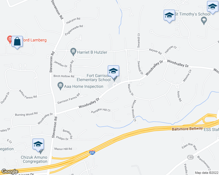 map of restaurants, bars, coffee shops, grocery stores, and more near 3310 Woodvalley Drive in Pikesville