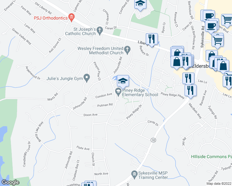 map of restaurants, bars, coffee shops, grocery stores, and more near 6259-6289 Freedom Avenue in Eldersburg