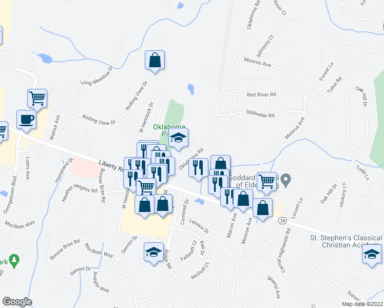 map of restaurants, bars, coffee shops, grocery stores, and more near 6323 Oklahoma Road in Eldersburg