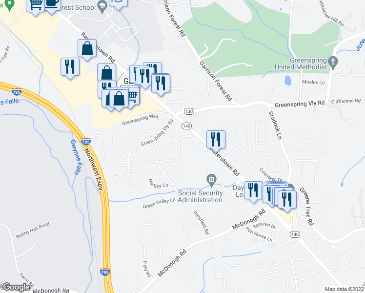 map of restaurants, bars, coffee shops, grocery stores, and more near 8002 Township Drive in Owings Mills