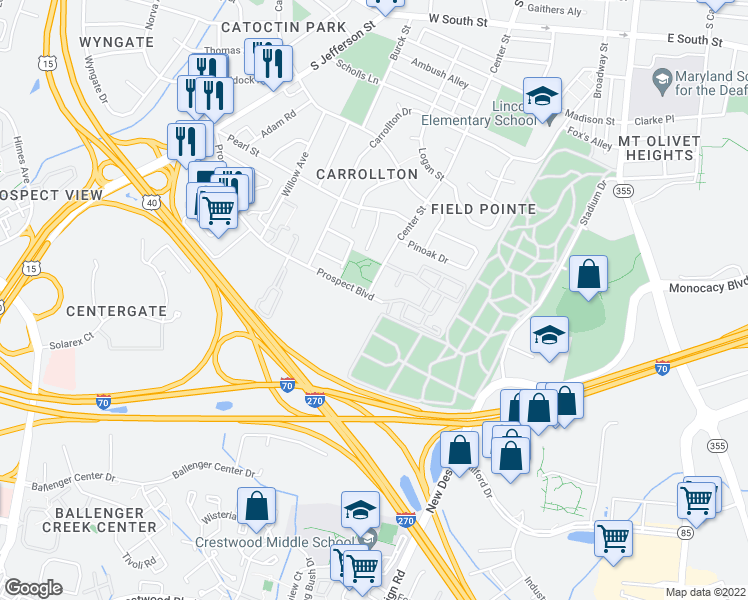 map of restaurants, bars, coffee shops, grocery stores, and more near 346 Prospect Boulevard in Frederick
