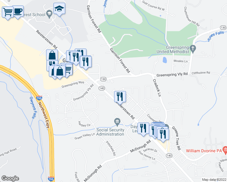 map of restaurants, bars, coffee shops, grocery stores, and more near 16 Fitzharding Place in Owings Mills