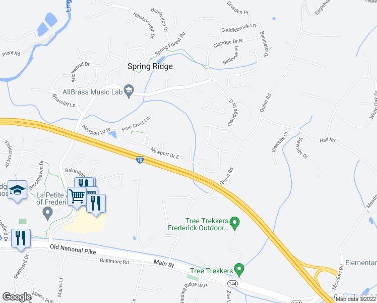 map of restaurants, bars, coffee shops, grocery stores, and more near 6117 Newport Terrace in Frederick