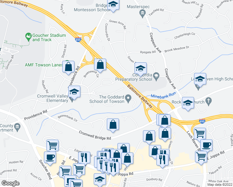 map of restaurants, bars, coffee shops, grocery stores, and more near 15 Treeway Court in Towson