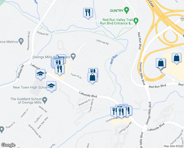 map of restaurants, bars, coffee shops, grocery stores, and more near 7 Caleb Court in Owings Mills