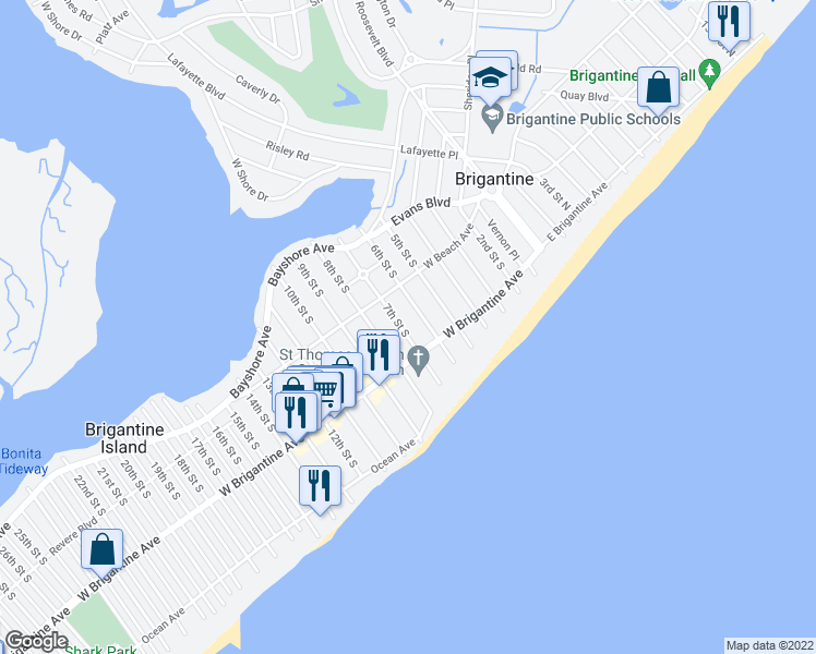 map of restaurants, bars, coffee shops, grocery stores, and more near 239 7th Street South in Brigantine
