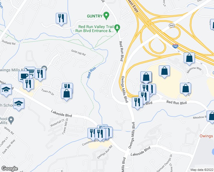 map of restaurants, bars, coffee shops, grocery stores, and more near 9345 Paragon Way in Owings Mills