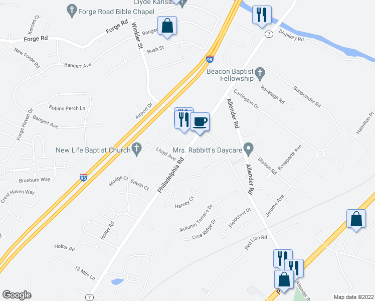 map of restaurants, bars, coffee shops, grocery stores, and more near Apperson Road in White Marsh