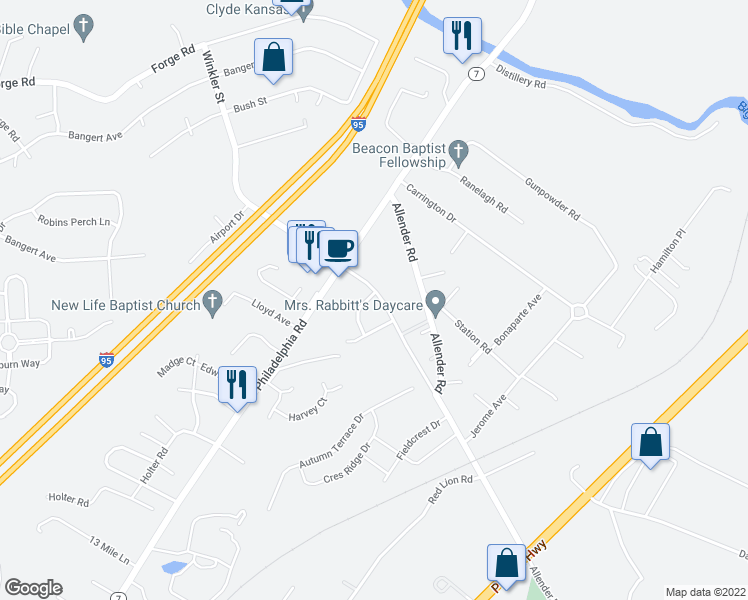 map of restaurants, bars, coffee shops, grocery stores, and more near 5619 New Forge Road in White Marsh