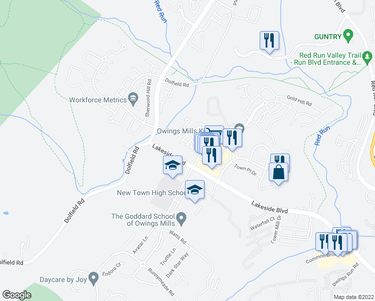 map of restaurants, bars, coffee shops, grocery stores, and more near 5012 Stone Shop Circle in Owings Mills