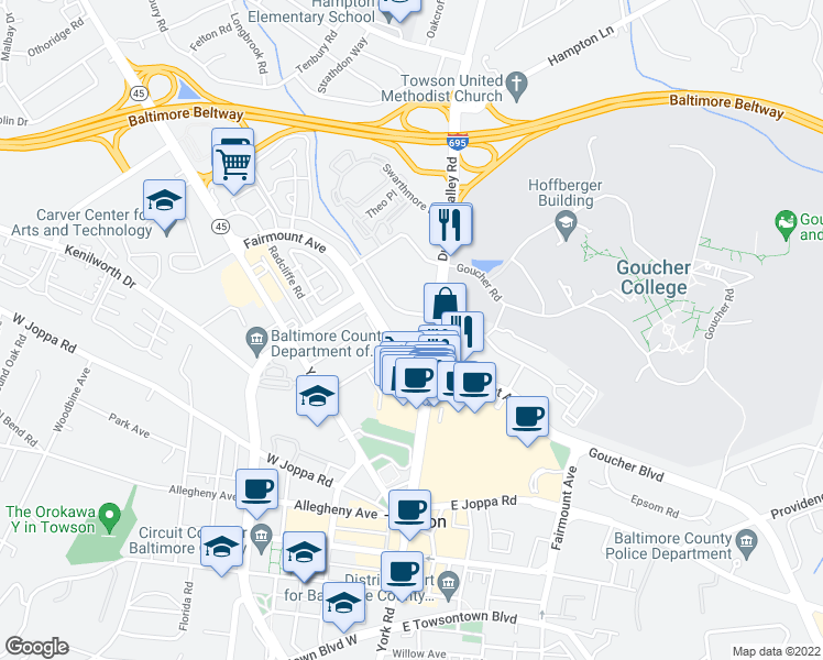 map of restaurants, bars, coffee shops, grocery stores, and more near 960 Southerly Road in Towson