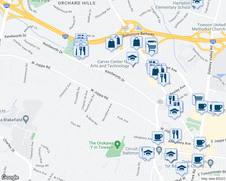 map of restaurants, bars, coffee shops, grocery stores, and more near 736 Camberley Circle in Towson