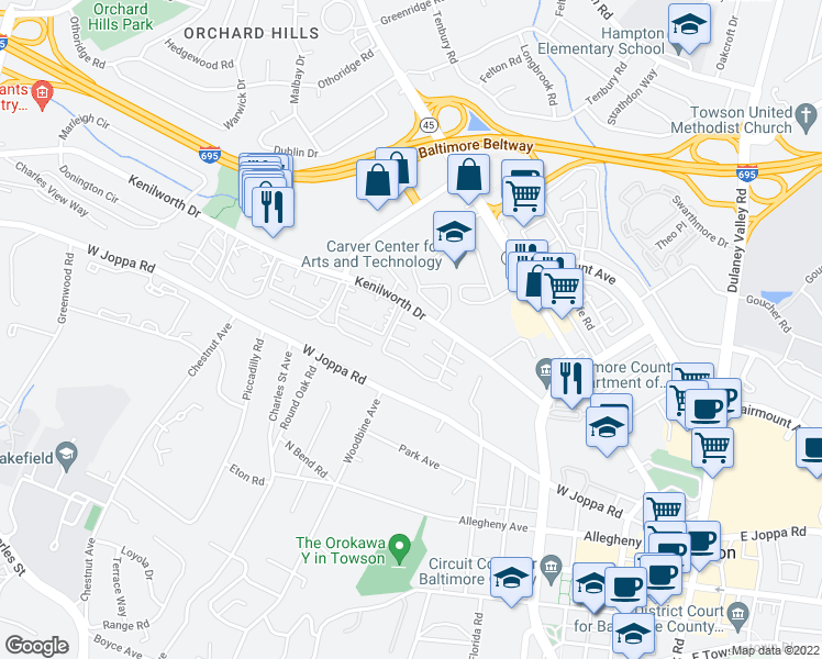 map of restaurants, bars, coffee shops, grocery stores, and more near Camberley Circle in Towson