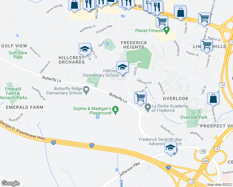 map of restaurants, bars, coffee shops, grocery stores, and more near 534 Riggs Court in Frederick