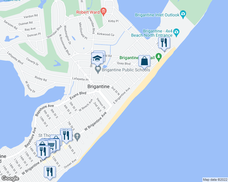 map of restaurants, bars, coffee shops, grocery stores, and more near 216 3rd Street North in Brigantine