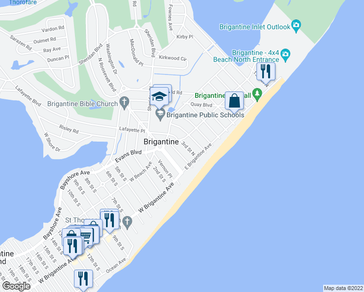 map of restaurants, bars, coffee shops, grocery stores, and more near 204 3rd Street North in Brigantine