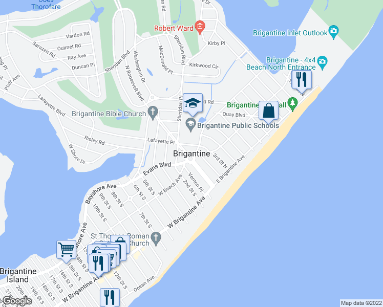 map of restaurants, bars, coffee shops, grocery stores, and more near West Brigantine Avenue in Brigantine
