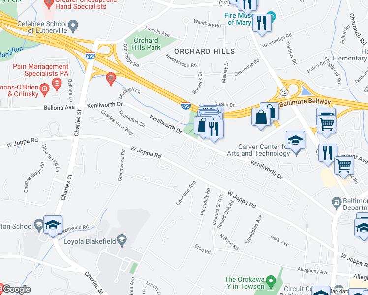 map of restaurants, bars, coffee shops, grocery stores, and more near 20-42 Kenilworth Park Circle in Towson