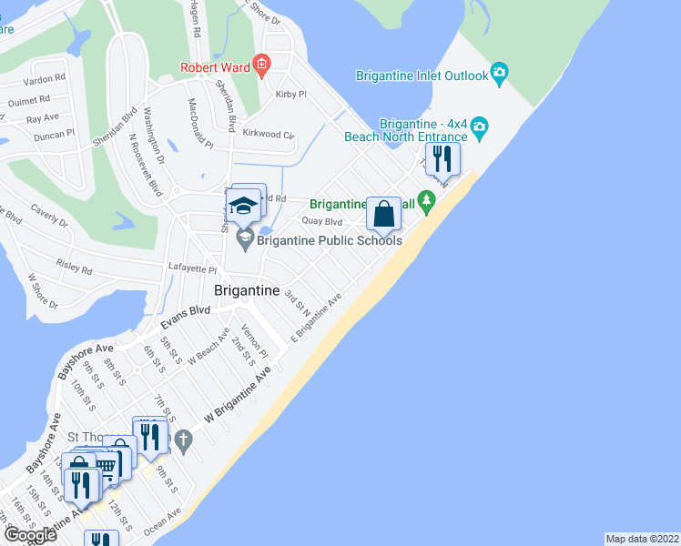map of restaurants, bars, coffee shops, grocery stores, and more near 226 6th Street North in Brigantine