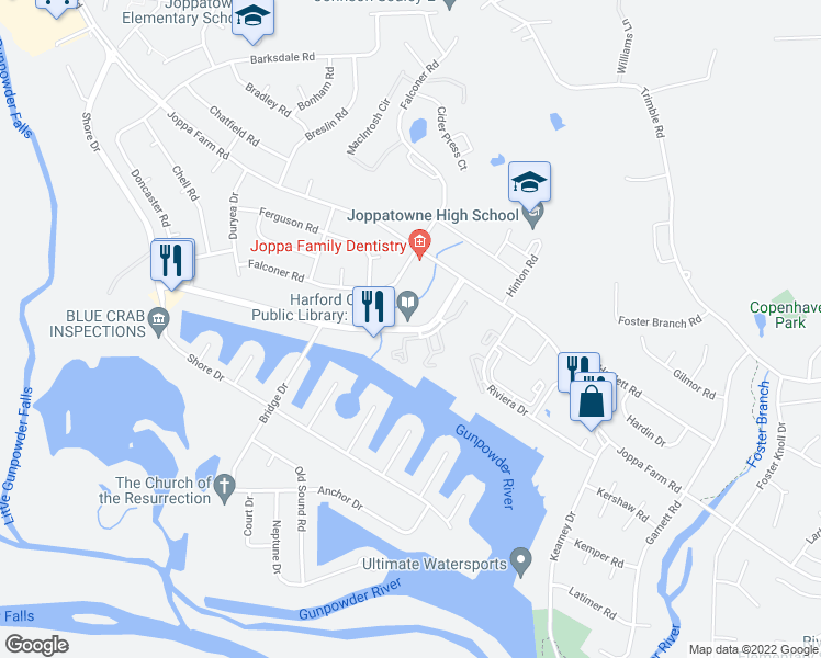 map of restaurants, bars, coffee shops, grocery stores, and more near 600 Harborside Drive in Harford County