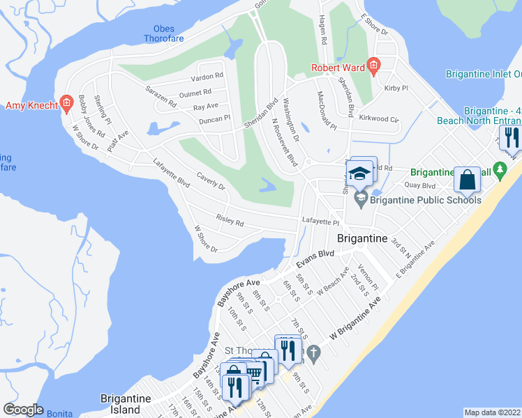 map of restaurants, bars, coffee shops, grocery stores, and more near 425 Lafayette Boulevard in Brigantine