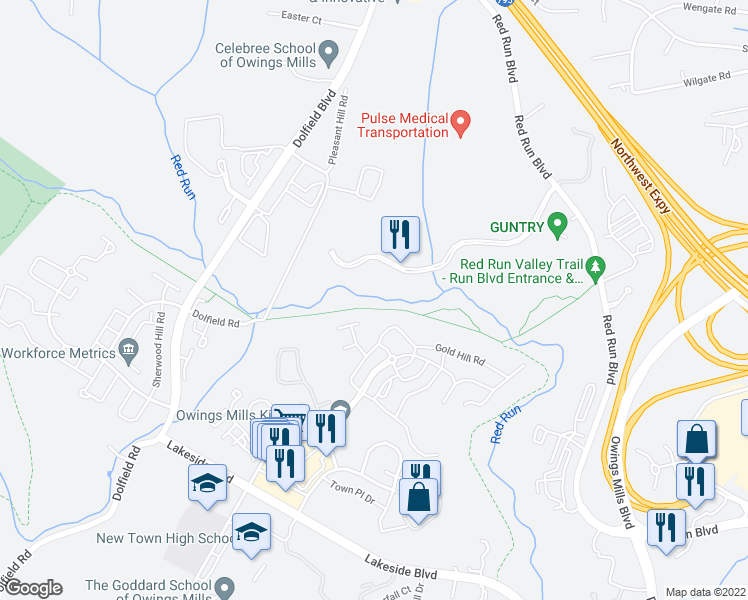 map of restaurants, bars, coffee shops, grocery stores, and more near Red Run Stream Valley Trail in Owings Mills