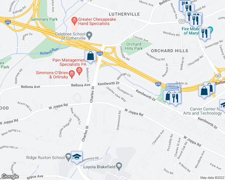 map of restaurants, bars, coffee shops, grocery stores, and more near 1149 Donington Circle in Towson