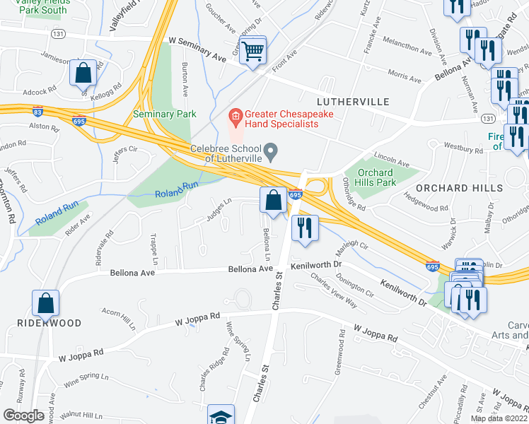 map of restaurants, bars, coffee shops, grocery stores, and more near 8400-8406 Charles Valley Court in Towson