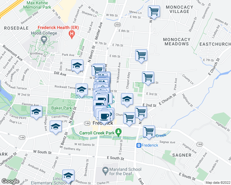 map of restaurants, bars, coffee shops, grocery stores, and more near 40 East 3rd Street in Frederick