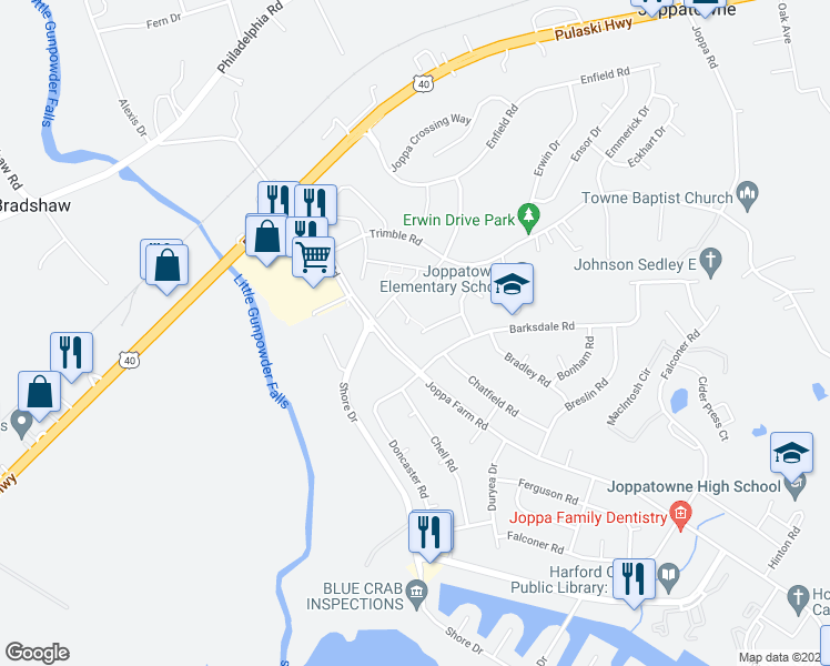 map of restaurants, bars, coffee shops, grocery stores, and more near 300 Adair Court in Joppa