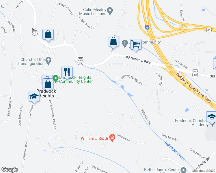 map of restaurants, bars, coffee shops, grocery stores, and more near 6834 Running Springs Court in Frederick