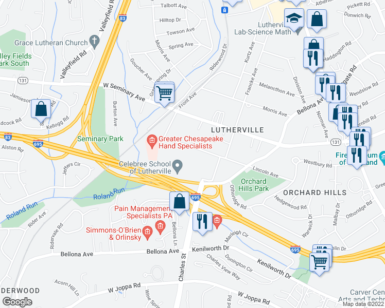 map of restaurants, bars, coffee shops, grocery stores, and more near 10 Nightingale Way in Lutherville-Timonium