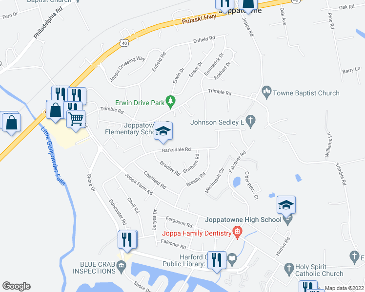 map of restaurants, bars, coffee shops, grocery stores, and more near 430-498 Barksdale Road in Harford County