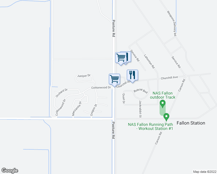 map of restaurants, bars, coffee shops, grocery stores, and more near 1000 Cottonwood Drive in Fallon